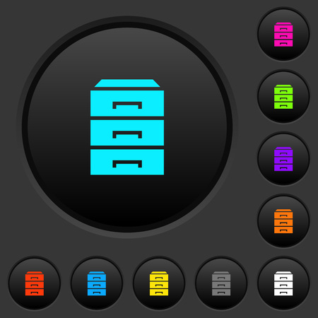 Categorize dark push buttons with vivid color icons on dark grey background