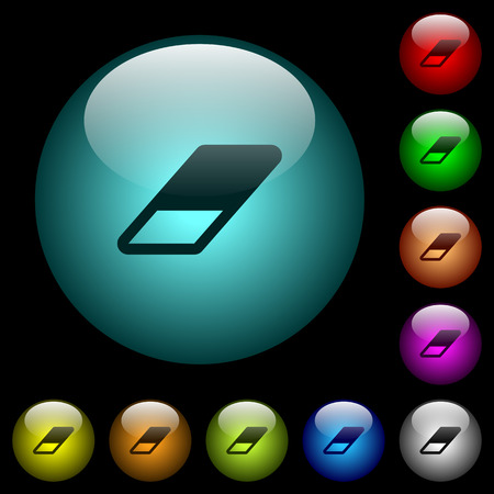 Eraser icons in color illuminated spherical glass buttons on black background. Can be used to black or dark templates