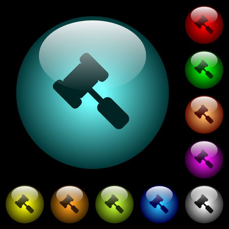 Judge hammer icons in color illuminated spherical glass buttons on black background. Can be used to black or dark templates Illustration