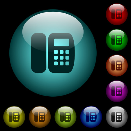 Office phone icons in color illuminated spherical glass buttons on black background. Can be used to black or dark templates
