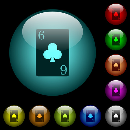 Six of clubs card icons in color illuminated spherical glass buttons on black background. Can be used to black or dark templates