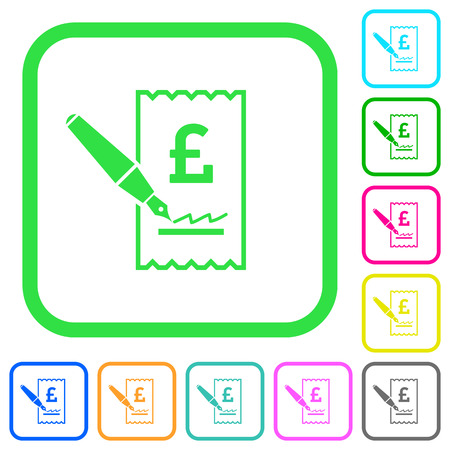 Signing Pound cheque vivid colored flat icons in curved borders on white background Vectores