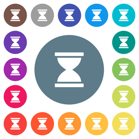 Hourglass flat white icons on round color backgrounds. 17 background color variations are included.