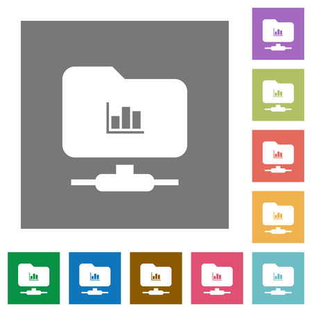 FTP statistics flat icons on simple color square backgrounds