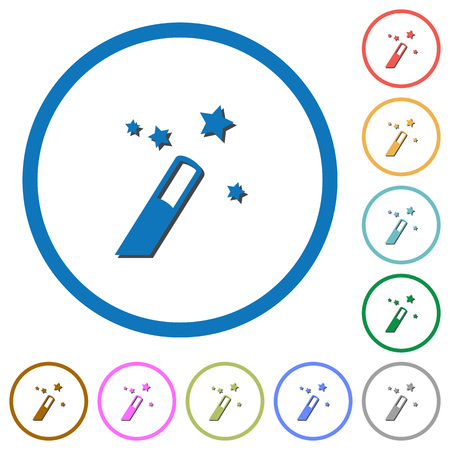 Application wizard flat color vector icons with shadows in round outlines on white background