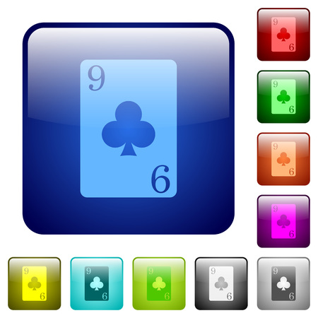 Nine of clubs card icons in rounded square color glossy button set