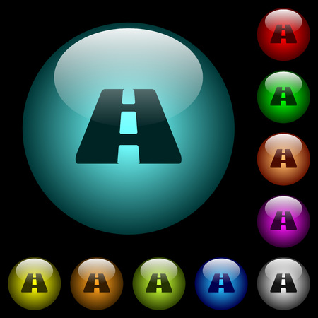 Road icons in color illuminated spherical glass buttons on black background. Can be used to black or dark templates