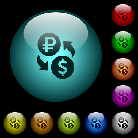 Ruble Dollar money exchange icons in color illuminated spherical glass buttons on black background. Can be used to black or dark templates Illustration