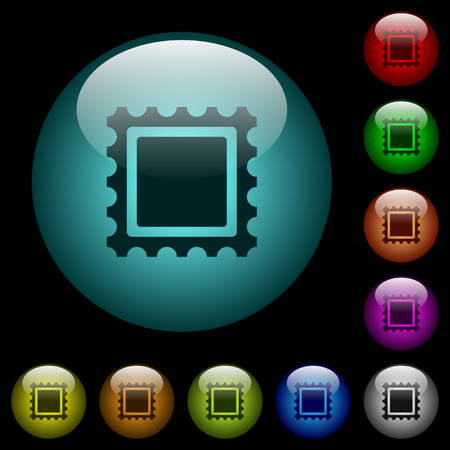 Postal stamp icons in color illuminated spherical glass buttons on black background. Can be used to black or dark templates