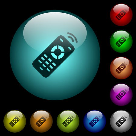 Working remote control icons in color illuminated spherical glass buttons on black background. Can be used to black or dark templates