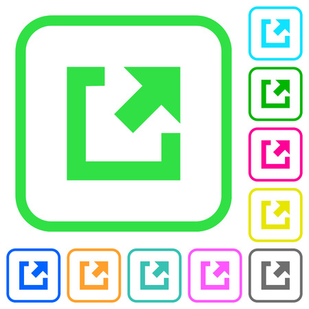 External link vivid colored flat icons in curved borders on white background Illustration