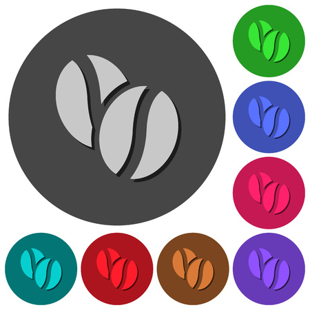 Coffe beans icons with shadows on color round backgrounds for material design Illustration