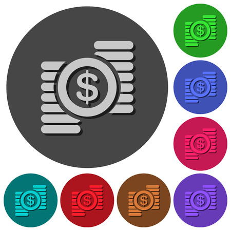 Dollar coins icons with shadows on color round backgrounds for material design