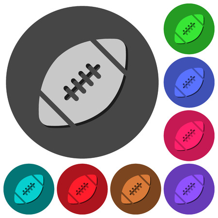 Rugby ball icons with shadows on color round backgrounds for material design