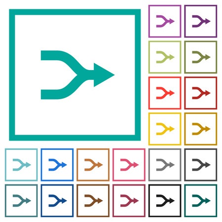 Merge arrows flat color icons with quadrant frames on white background