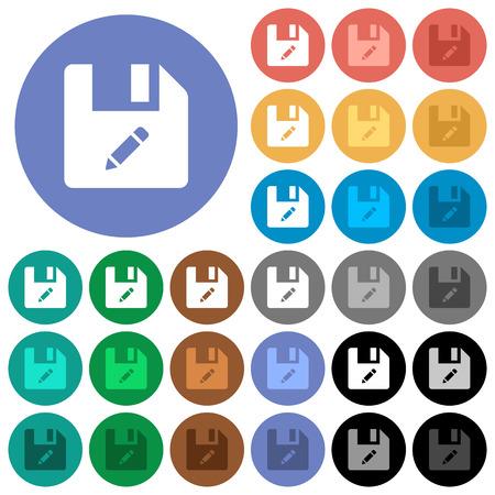 Renommez les icônes plates multicolores de fichiers sur des arrière-plans ronds. Inclus des variations d'icônes blanches, claires et sombres pour les effets de survol et d'état actif, et des nuances bonus sur les arrière-plans noirs. Vecteurs