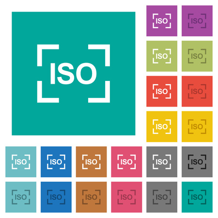 Camera iso speed setting multi colored flat icons on plain square backgrounds. Included white and darker icon variations for hover or active effects.