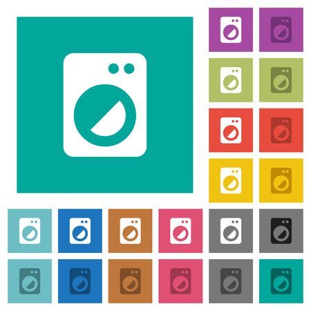 Washing machine multi colored flat icons on plain square backgrounds. Included white and darker icon variations for hover or active effects. Stock Illustratie