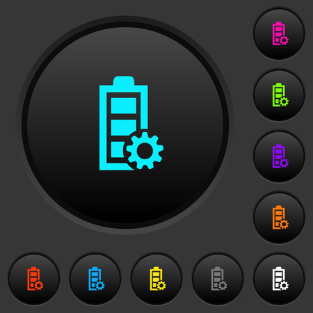 Power management dark push buttons with vivid color icons on dark grey background Foto de archivo - 103461401