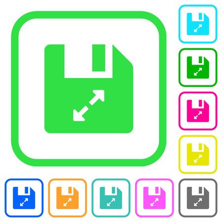 Uncompress file vivid colored flat icons in curved borders on white background