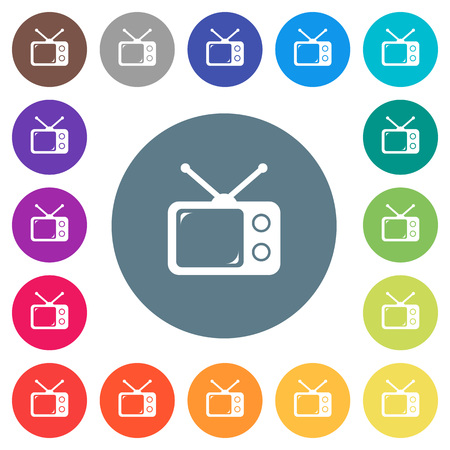 Vintage retro television flat white icons on round color backgrounds. 17 background color variations are included.