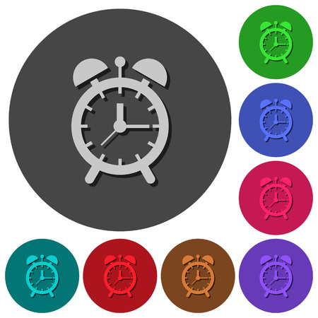 Alarm clock icons with shadows on color round backgrounds for material design Illustration