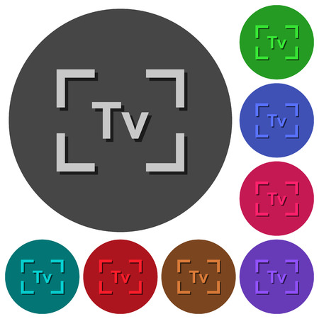 Camera time value mode icons with shadows on color round backgrounds for material design