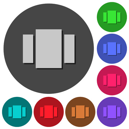 View carousel icons with shadows on color round backgrounds for material design