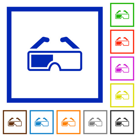 Retro 3d glasses flat color icons in square frames on white background  イラスト・ベクター素材