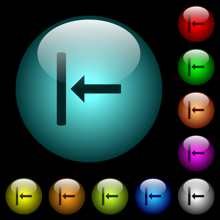 Align to left icons in color illuminated spherical glass buttons on black background. Can be used to black or dark templates
