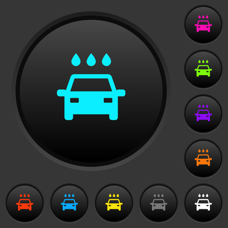Car wash dark push buttons with vivid color icons on dark grey background