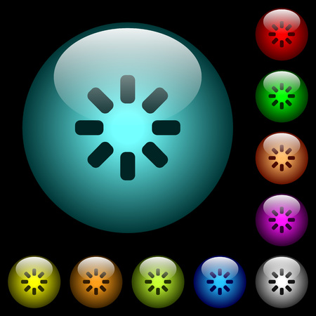 Loader symbol icons in color illuminated spherical glass buttons on black background. Can be used to black or dark templates