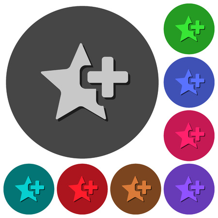 Add star icons with shadows on color round backgrounds for material design Illustration