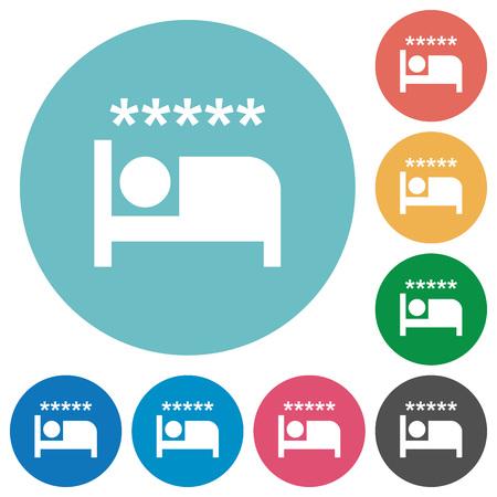 Luxury hotel flat white icons on round color backgrounds 일러스트