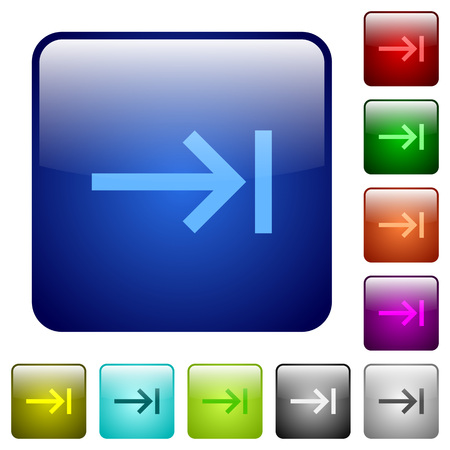 Keyboard tab icons in rounded square color glossy button set 일러스트