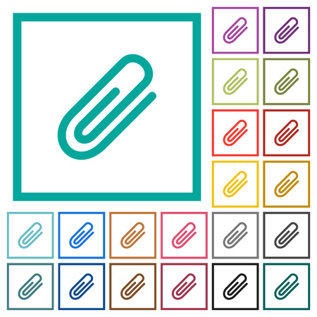 Attachment flat color icons with quadrant frames on white background