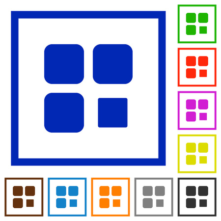 Component stop flat color icons in square frames on white background