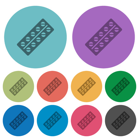 Batch of pills in blister pack darker flat icons on color round background