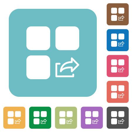 Export component white flat icons on color rounded square backgrounds Illusztráció