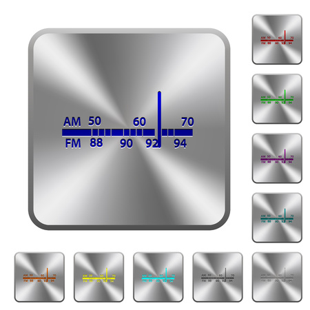 Radio tuner engraved icons on rounded square glossy steel buttons Illustration