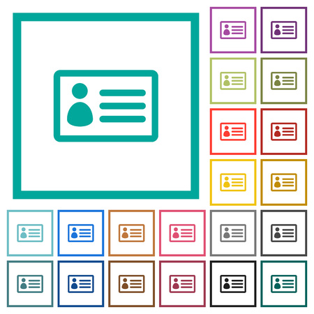 ID card flat color icons with quadrant frames on white background