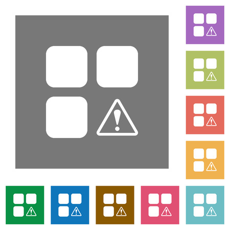 Component warning flat icons on simple color square backgrounds
