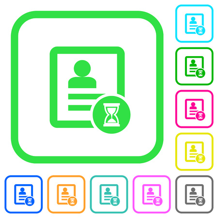 Contact processing vivid colored flat icons in curved borders on white background Ilustracja