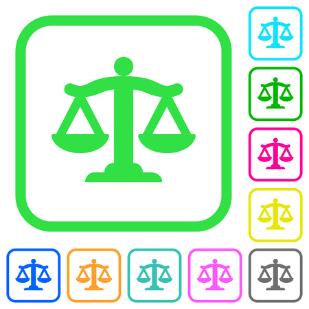 Scale of law vivid colored flat icons in curved borders on white background