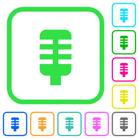 Microphone vivid colored flat icons in curved borders on white background