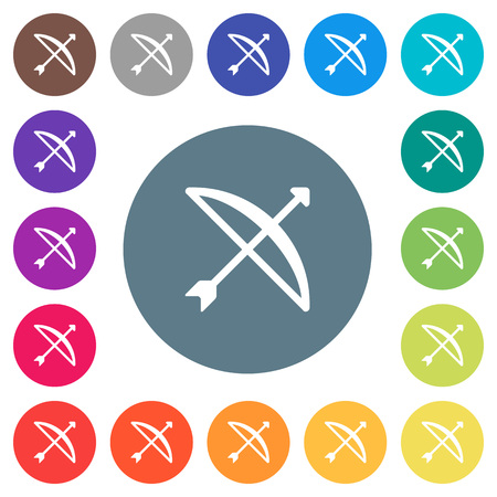 Bow with arrow flat white icons on round color backgrounds. 17 background color variations are included.