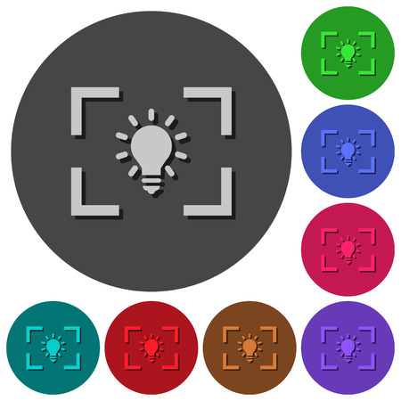 Camera white balance tungsten mode icons with shadows on color round backgrounds for material design Ilustrace