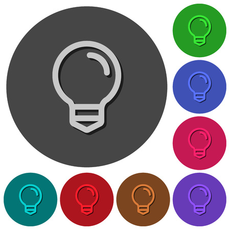 Light bulb icons with shadows on color round backgrounds for material design