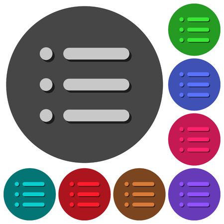 Unordered list icons with shadows on color round backgrounds for material design Ilustração