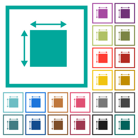 Elemet dimensions flat color icons with quadrant frames on white background Illustration